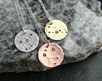 Hand Stamped Constellation Necklace, Constellation Necklace, Zodiac Jewelry, Astrology Zodiac Necklace, Star Constellation Necklace