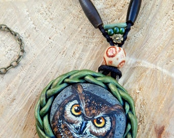 GREAT HORNED OWL Sculpted Clay Pendants Hand Painted Beach Stones Painted Rocks Sea Pebble Necklaces Spirit Animal Owls Jewelry Gifts