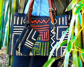 "Tribal Immunity Large Hand Painted Vegan Leather ""Winding"" Tote Bag"