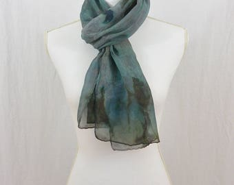 Hand Painted Chiffon Silk Scarf, Teal, Blue, Gray, Artsy, Abstract Scarf, Watercolor Scarf, Gift for Her, One of a Kind