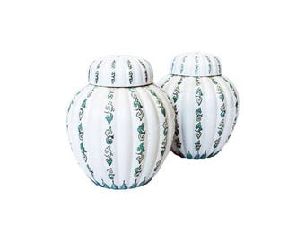 Vintage Pair of Green and White Ginger Jars