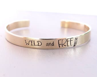 Wild And Free Hand Stamped Cuff Bracelet. Free Spirited Boho Jewelry. Cuff Bracelet with Feather. Your choice of Silver, Gold, or Rose Gold.