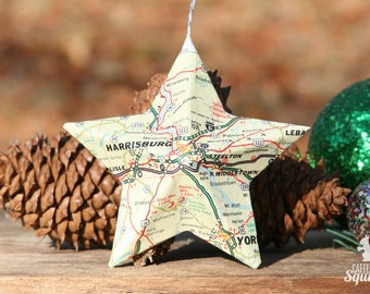Harrisburg, Pennsylvania - Vintage Map Covered Star Ornament - PA, Home Decor, East Coast, 3 Dimensional, Christmas, Travel