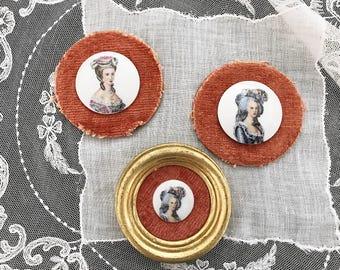 3 Painted Cameos on Porcelain Victorian Woman Miniature Portrait on Porcelain Cabochons