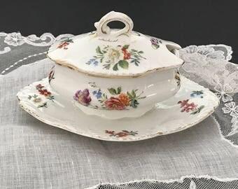 Porcelain Condiment Pot Cottage Chic Floral China Jam Pot Miniature Tureen Covered China Sugar Bowl Honey Pot