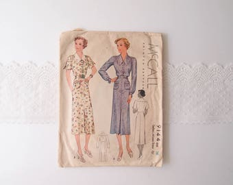1930s Dress sewing pattern 1937 McCall 9144 printed pattern for Midi Length Dress patch pockets flared collar long or short sleeves sz 16/34