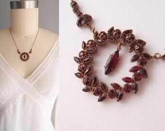 antique Necklace Garnet Wreath circlet Belle Epoque Bohemian Glass Victorian Edwardian