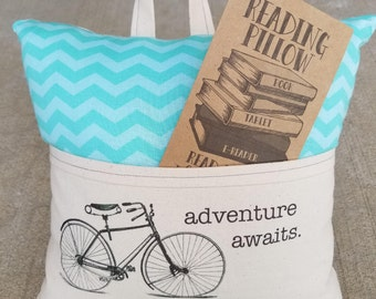 Reading Pillow- Vintage Bicycle, Adventure Awaits- Book Pillow, Travel Pillow