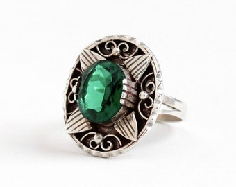 Sale - Vintage Mexican Sterling Silver Simulated Emerald Ring - Retro Size 8 Green Glass Stone Statement Shield DF 925 AAM Mexico Jewelry