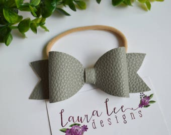 READY TO SHIP, Gray Faux Leather Bow on Nylon Headband or Clip, Newborn, Smash Cake, Toddler, Halloween, Fall Hair Bow, Christmas Hair Bow