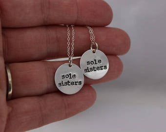 Sole sisters charm necklace pair • Runner Gift • Runner present • Girl on the run • Running girl • Two necklaces