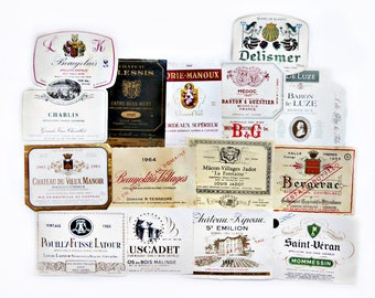 Fifteen Authentic French Wine Labels