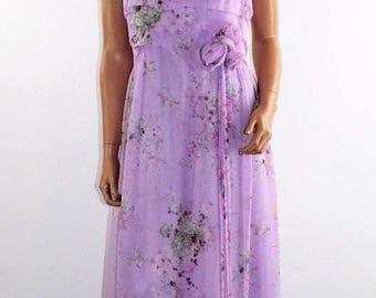 Vintage 60's 70's Purple Floral Sheer Rayon Formal Gown Maxi Prom Dress Size M/L