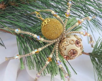 Christmas Tree Spider Ornament in Gold Folk Art Tale of Tinsel and Garland
