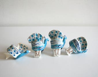 SALE Handmade Ceramic Peacock Napkin Holders