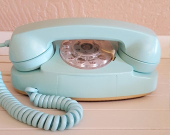 Princess Aqua Rotary Telephone by Western Electric - Oak Hill Vintage