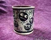 Polka Dot Monster Cup - porcelain, ceramic, shot glass, espresso cup, sgraffito artwork, fantasy