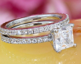 14k white gold princess cut moissanite and diamond engagement ring and band, wedding, anniversary, propose, art deco 2.50ct