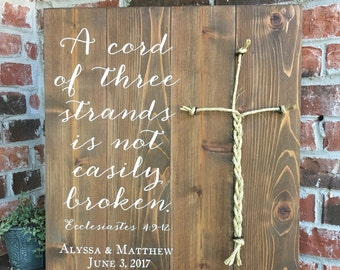 A Cord Of Three Strands Sign, Ecclesiastes 4:9-12, Wedding Ceremony Sign, A Cord of 3 Strands, Unity Ceremony Sign, Wedding Decor, Gift