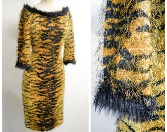 1980s 90s Tiger print tinsel fluffy wiggle dress / 1990s animal print wide fake fur trimmed neckline pencil dress - XXS XS