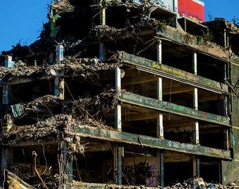Work In Progress - Art Print , Derelict, Broken Down, Old Building, Glasgow, Knocked Down, Run Down, Art, Print, Image, Photograph, Wrecked