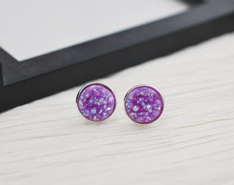 Light Purple Earrings, Faux Druzy Studs, Druzy Studs, Purple Earrings, Light Purple, Faux Druzy Earrings, Stud Earrings, Faux Plugs, Lilac