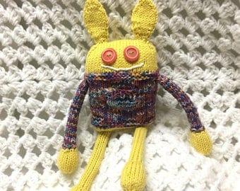Monster Plushie Knit Critter Cuddle Lovey Doll Toy with Tooth Fairy Pocket