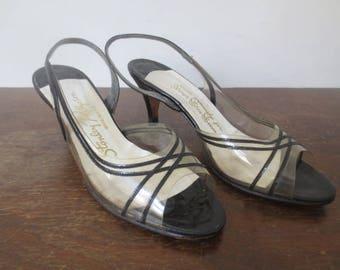 Vintage '60s Stanley Philipson Black Criss-Crossed Clear Vinyl Slingback Heels, US Sz 7