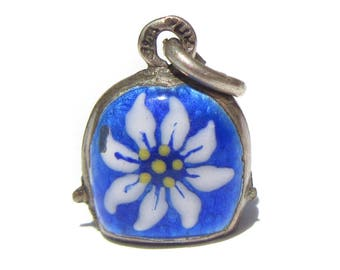 Sterling Silver Bell Charm, Blue and White Enamel Flower Bracelet Charm, Bell Charm, Vintage Charm, Musical Charm