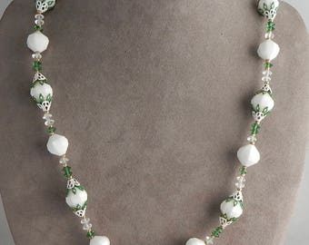Vintage VENDOME CORO Signed White Clear & Green Crystal Bead Necklace    OEO18