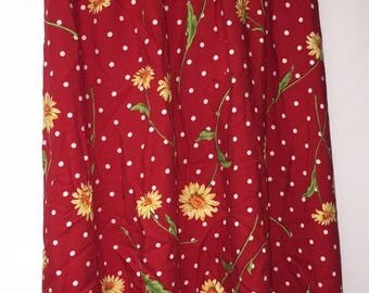 Vintage Women's Skirt By Southern Lady Size L Red Sunflowers USA 100% Rayon