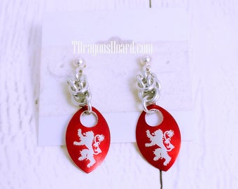 House Scale Earrings - Choice of Red or Green