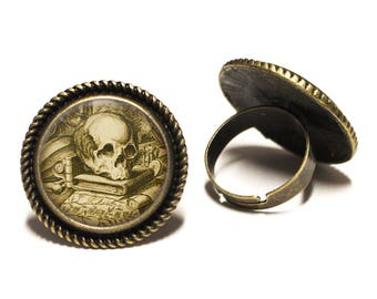 Antique Skull Librarian Brass Rope Ring 20mm