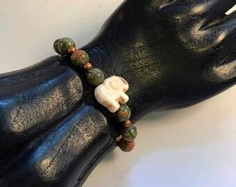 Unakite / Copper Bead /Elephant Charm Bracelet
