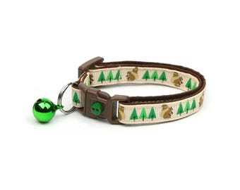 Woodland Cat Collar - Squirrels and Trees on Tan - Small Cat / Kitten Size or Large Size