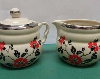 Vintage 1930s 1940s 1950s Hall Superior Quality Kitchenware Red Poppy Pattern Creamer and Sugar Set Rare Collectible Retro Home MCM