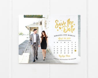 Calendar save the date magnet, save the date calendar, save the date postcard, calendar, gold save the date - Calendar Gold