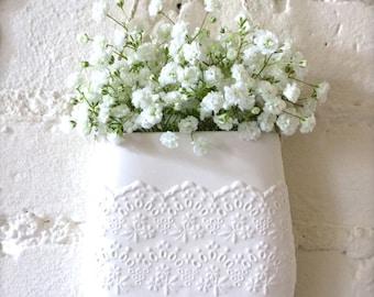 Porcelain Flower Lace Hanging Wall Pocket, Hanging Vase, Wall Decor