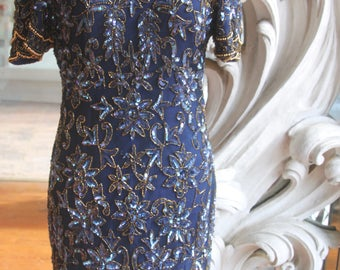 Vintage 1980s - 1990s Blue Beaded Sheath Dress