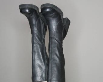 90s black leather below the knee platform boots size 6