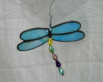Dragonfly Mobile Suncatcher Stained Glass Turquoise Blue