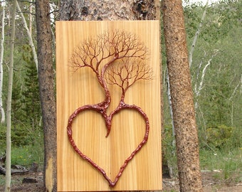 Wire Tree Of Life Heart sculpture, Family of three, Wood wall hanging, unique wall art decor, unique home or office accent, rustic decor
