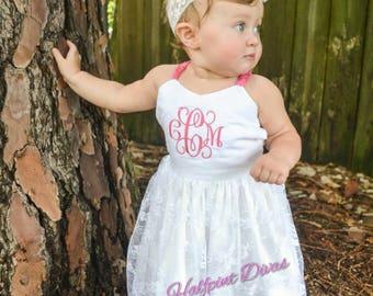 Newborn Toddler Lace monogrammed Maxi dress sizes Newborn 0-3  3-6  6-9  9-12  12-18  18-24