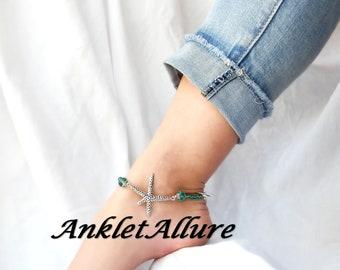 Anklet STARFISH Ankle Bracelet TEAL Anklets for Women Anklet Neckalces Available