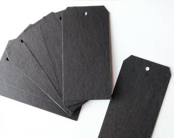 Set of 8 Black Chipboard Tags 6 x 3 inches Mixed Media Gifts Decor Albums Journals