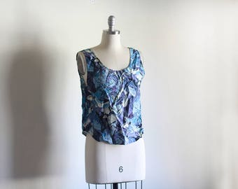 Vintage Silk Printed Tank / Abstract Printed Tank / Vintage Basic High Fashion / S M