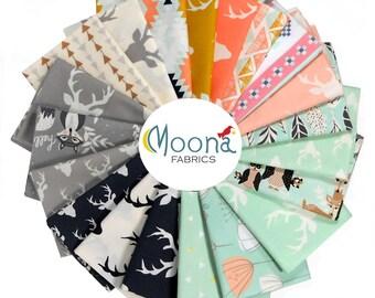 Hello Bear Fat Quarter Fabric Bundle, Woodland Nursery Fabric, Aztec Baby Fabric, Rustic Deer Fabric, Woodland Baby Quilt Fabric, 100 Cotton