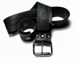 Eco-Friendly Recycled Bike Tube Belt STITCHED with Forest Thread