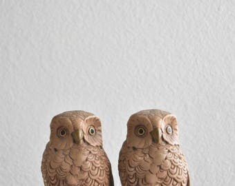 1960s brown owl bookends / library office decor