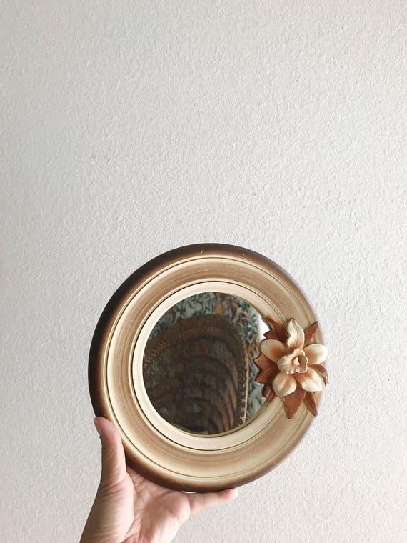 vintage 1980s ceramic circle wall hanging mirror | hawaiian flower floral